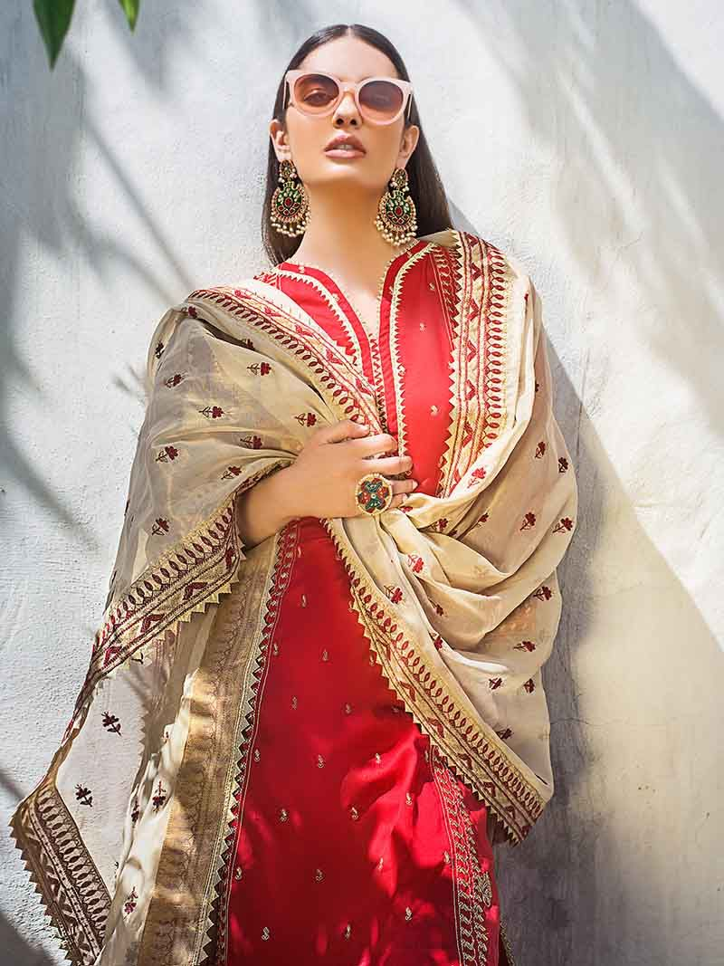 Branded red Eid suit for women