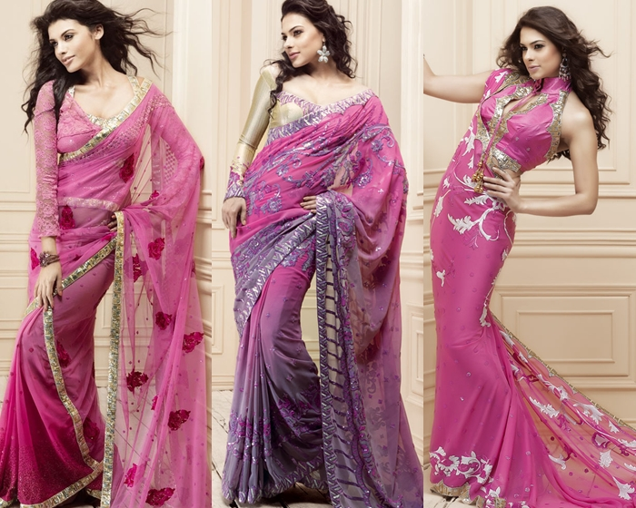 latest and stylish indian designer sarees 2014 designs