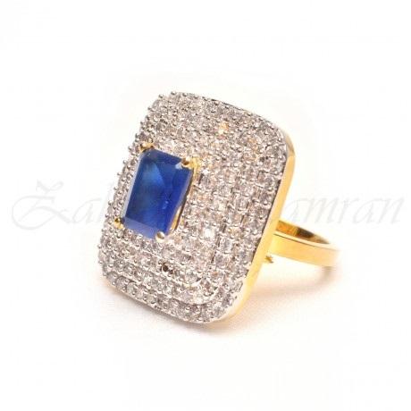 big motif blue engagement ring