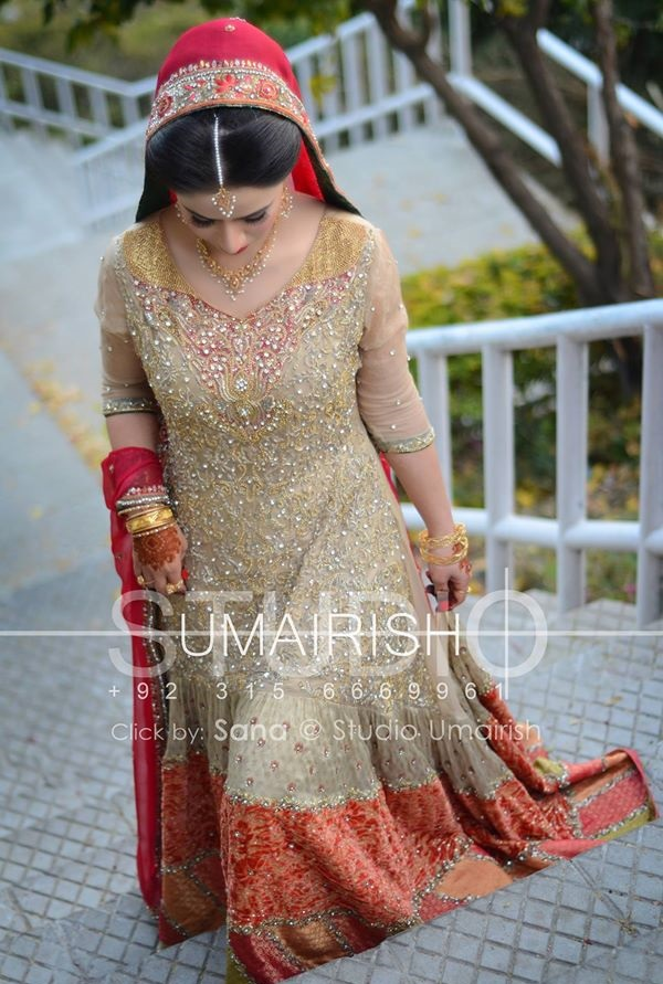 Skin Bridal Maxi Frock with Orange and Red Contrast