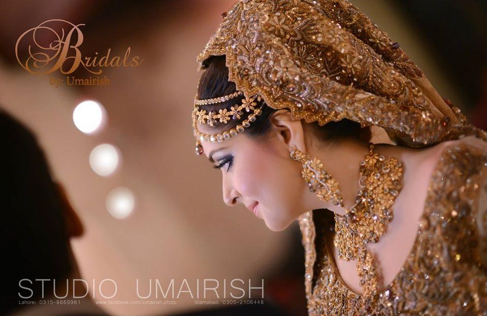 Skin Golden Embroidered Bridal Dress