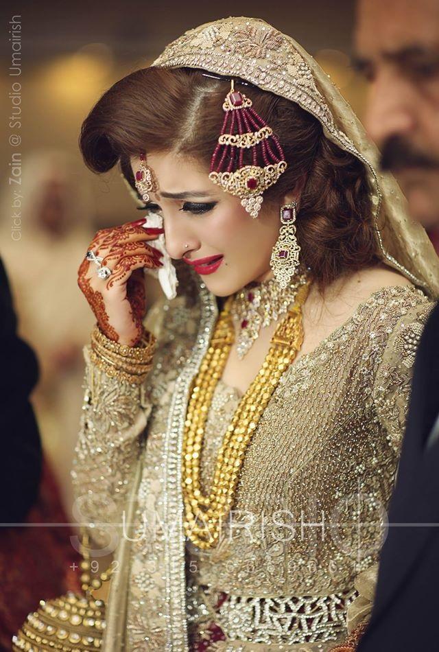Golden Barat Dress with Maroon Contrast