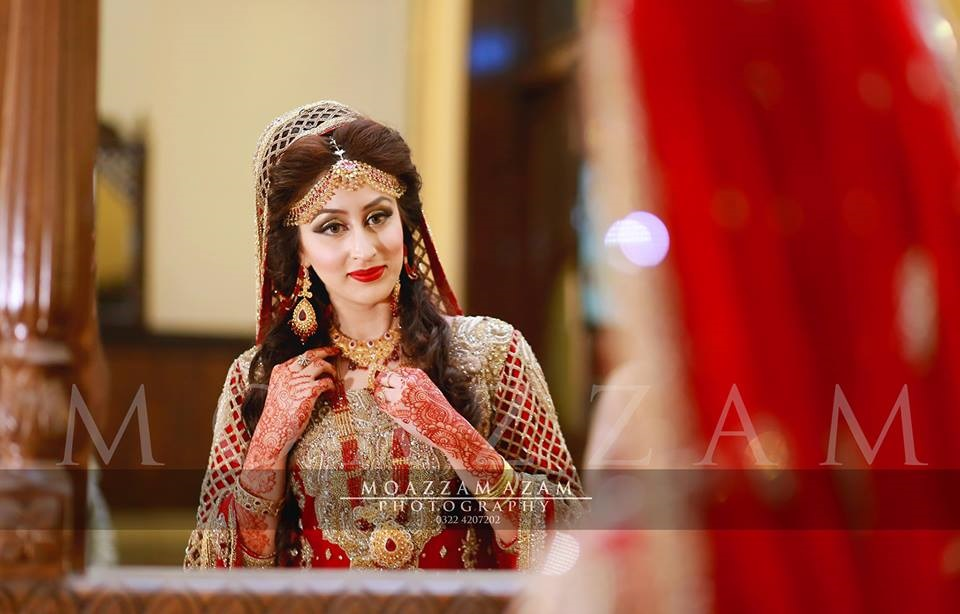 Red Gold Bridal Dress with Jaal Work