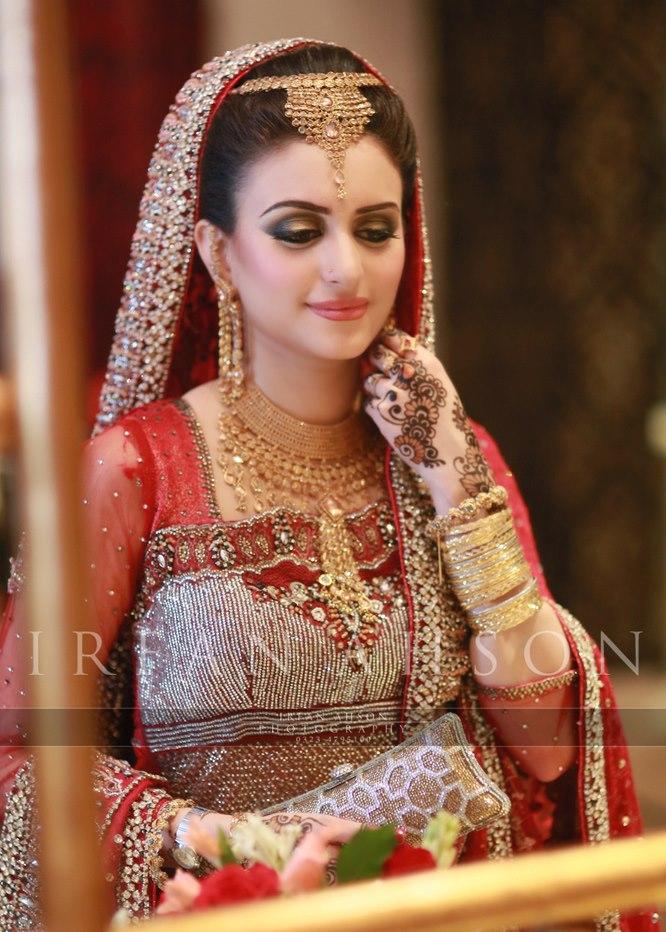 Red Bridal Lehenga with beads work