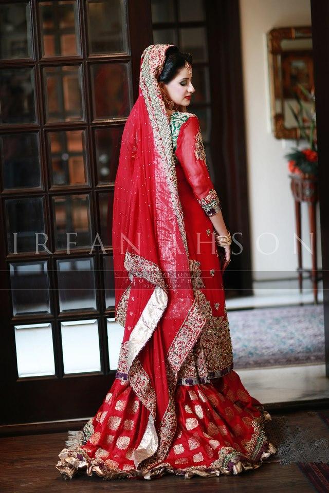 Red Jamawar Bridal Lehenga