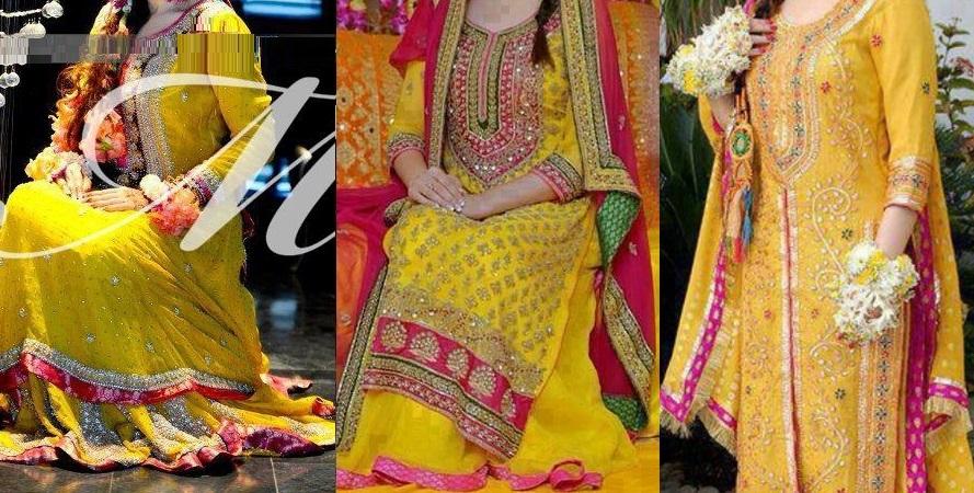 yellow bridal mehndi dresses 2017 2018   top 15 designs