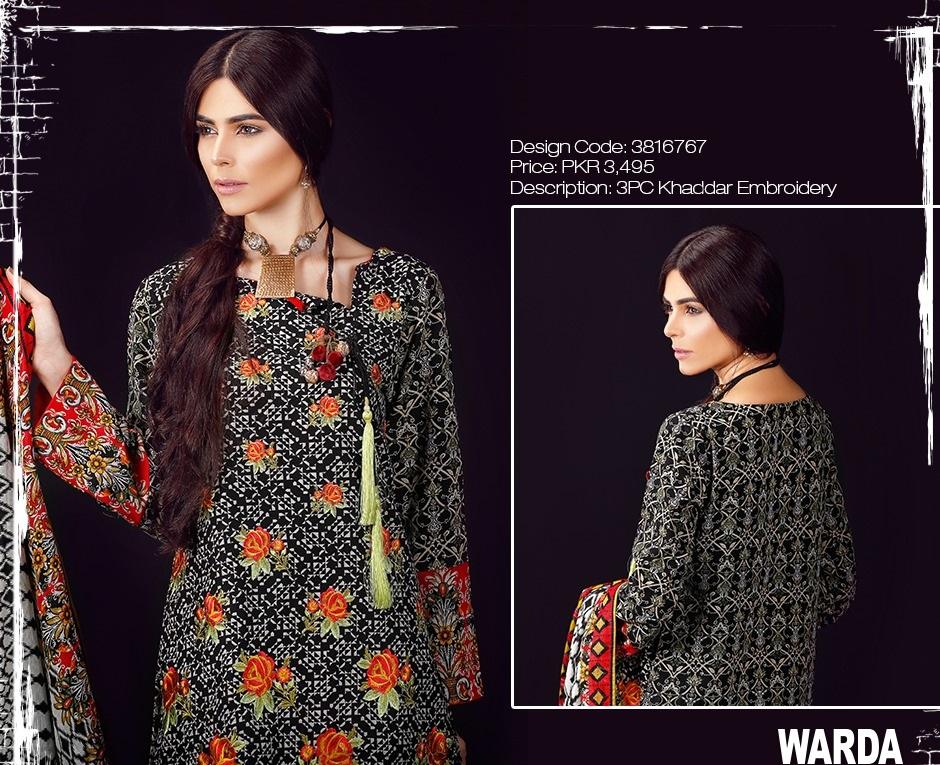 warda khaddar embroidered black dress
