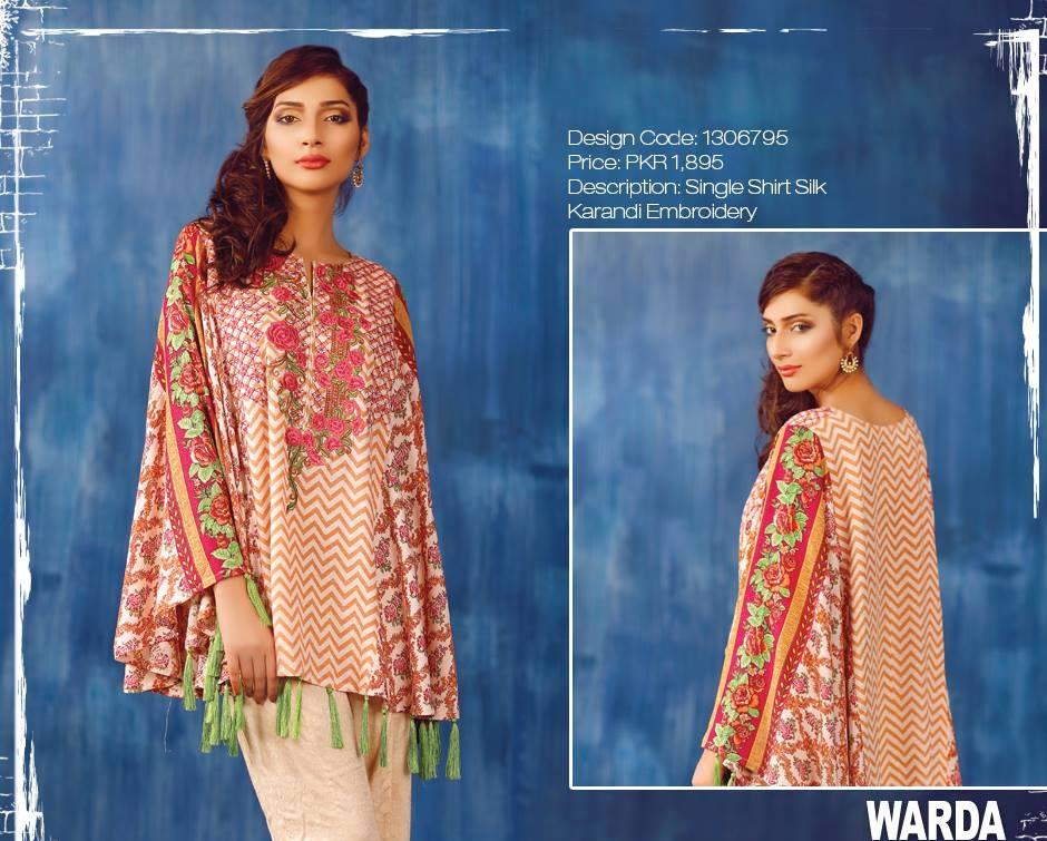 Warda silk karandi shirt with embroiderey