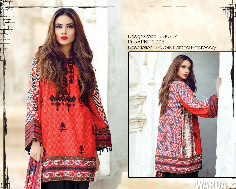 black and red winter dress by warda