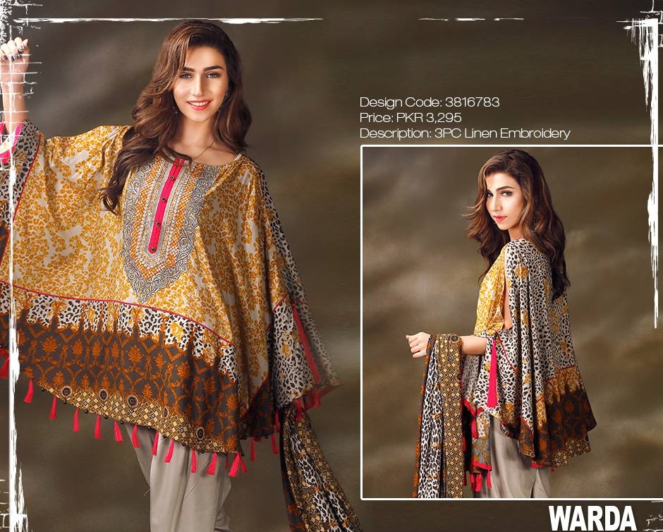 embroidered linen winter dress by warda
