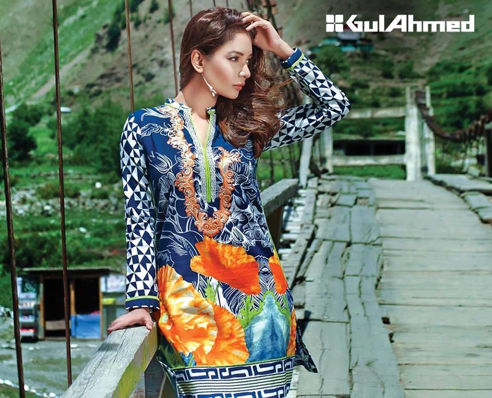 Gul Ahmed Winter Khaddar Single Shirt in blue color
