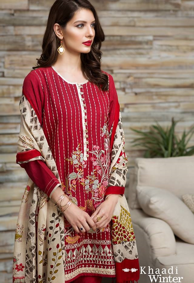 Khaadi Winter 2016 suits with shawls