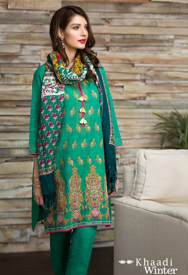 Khaadi Winter Dress with Shawl