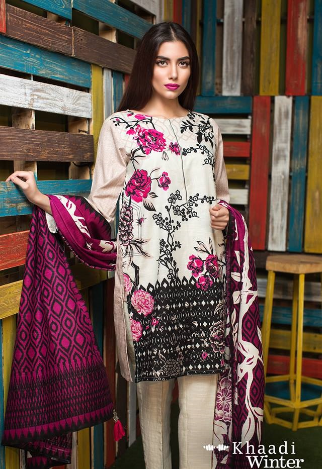 while and purple winter dress by khaadi