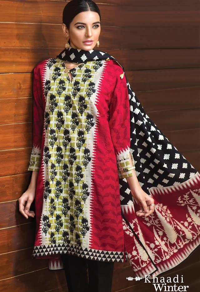 shocking pink khaddar suit by khaadi