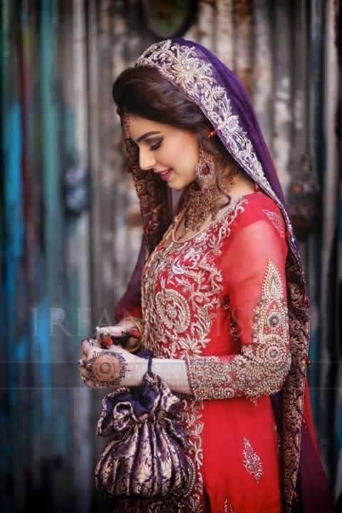 Designer Red plus purple Bridal Dress