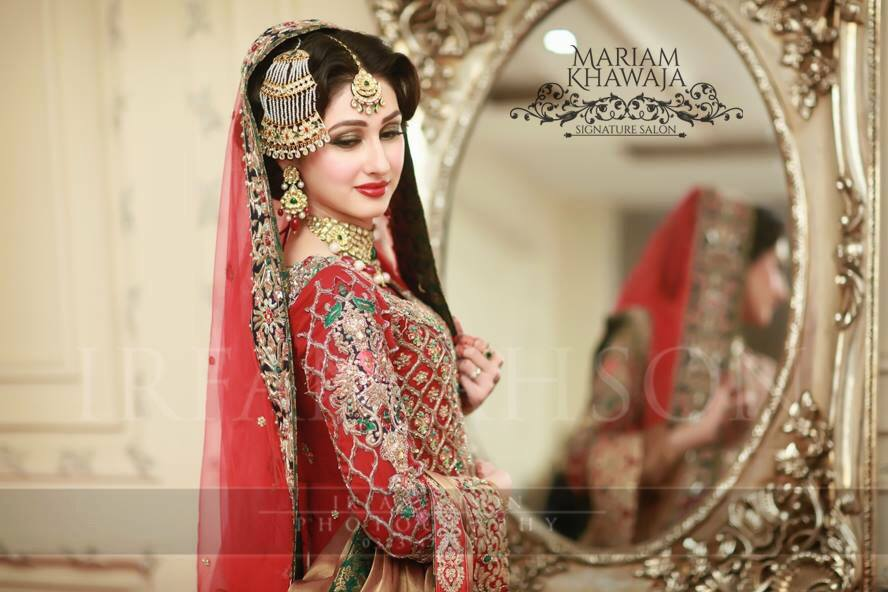 Designer Red and Green Bridal Dress