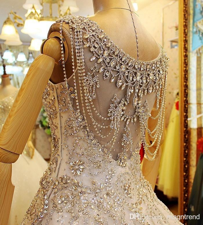 Heavily embroidered Christian wedding dress