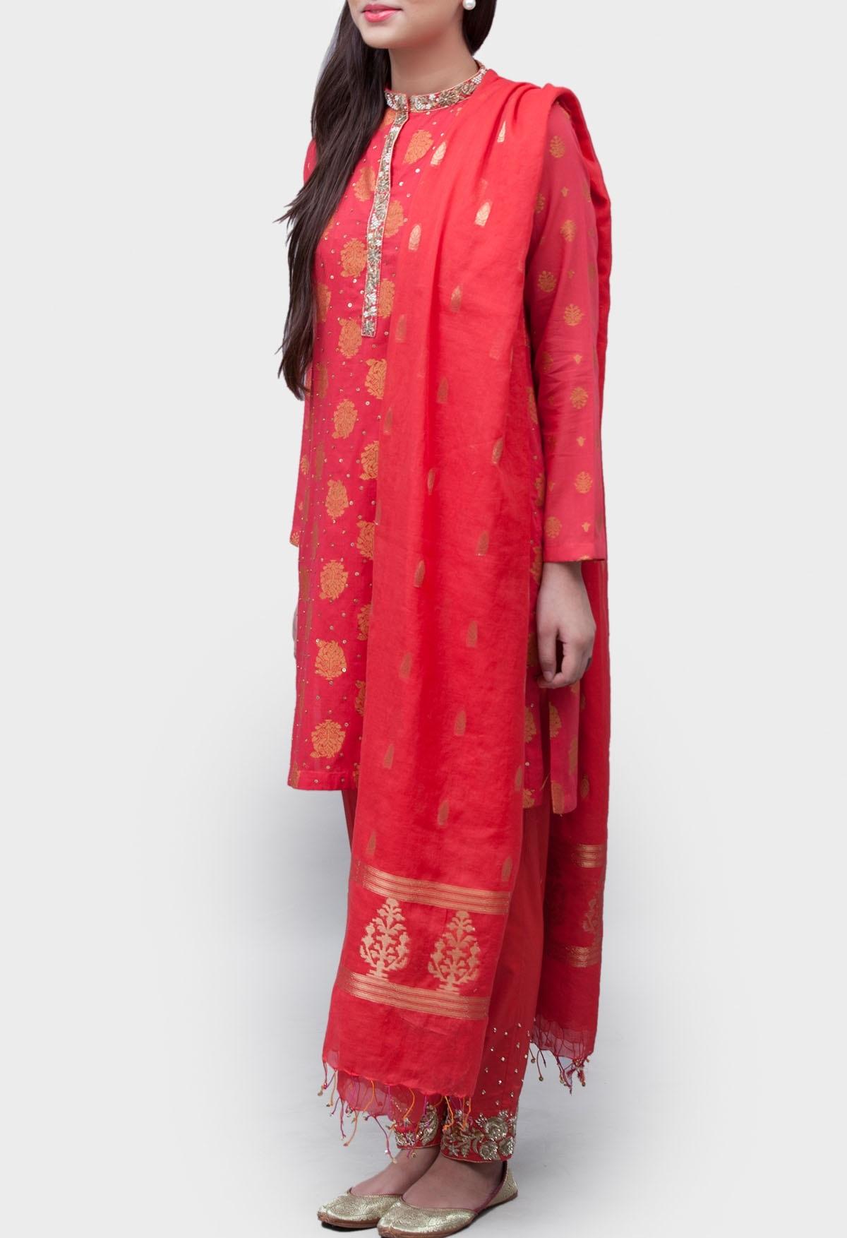 Generation red formal winter kurta shalwar with adda work