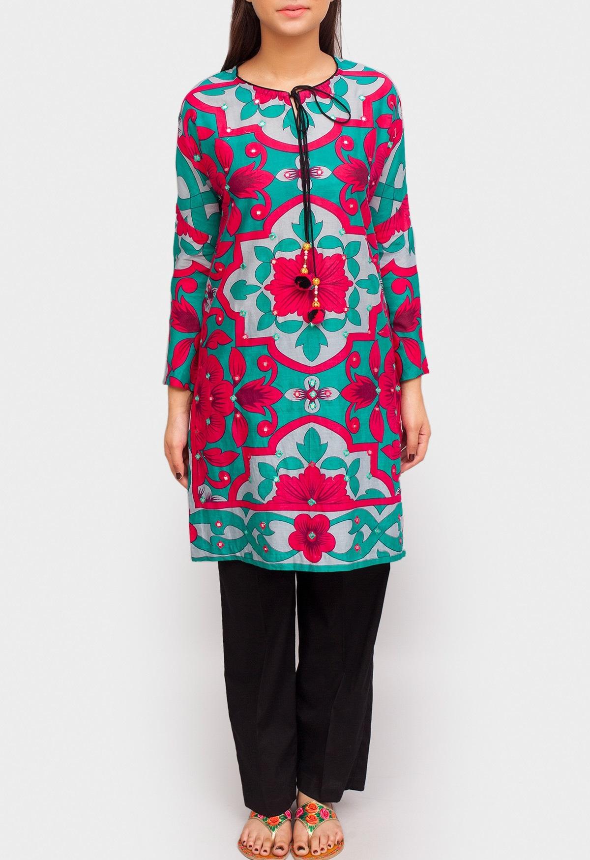 ferozi winter tunic with tassel details