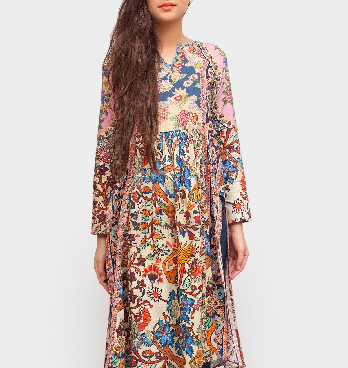jacquard crepe printed winter outfit by Generation