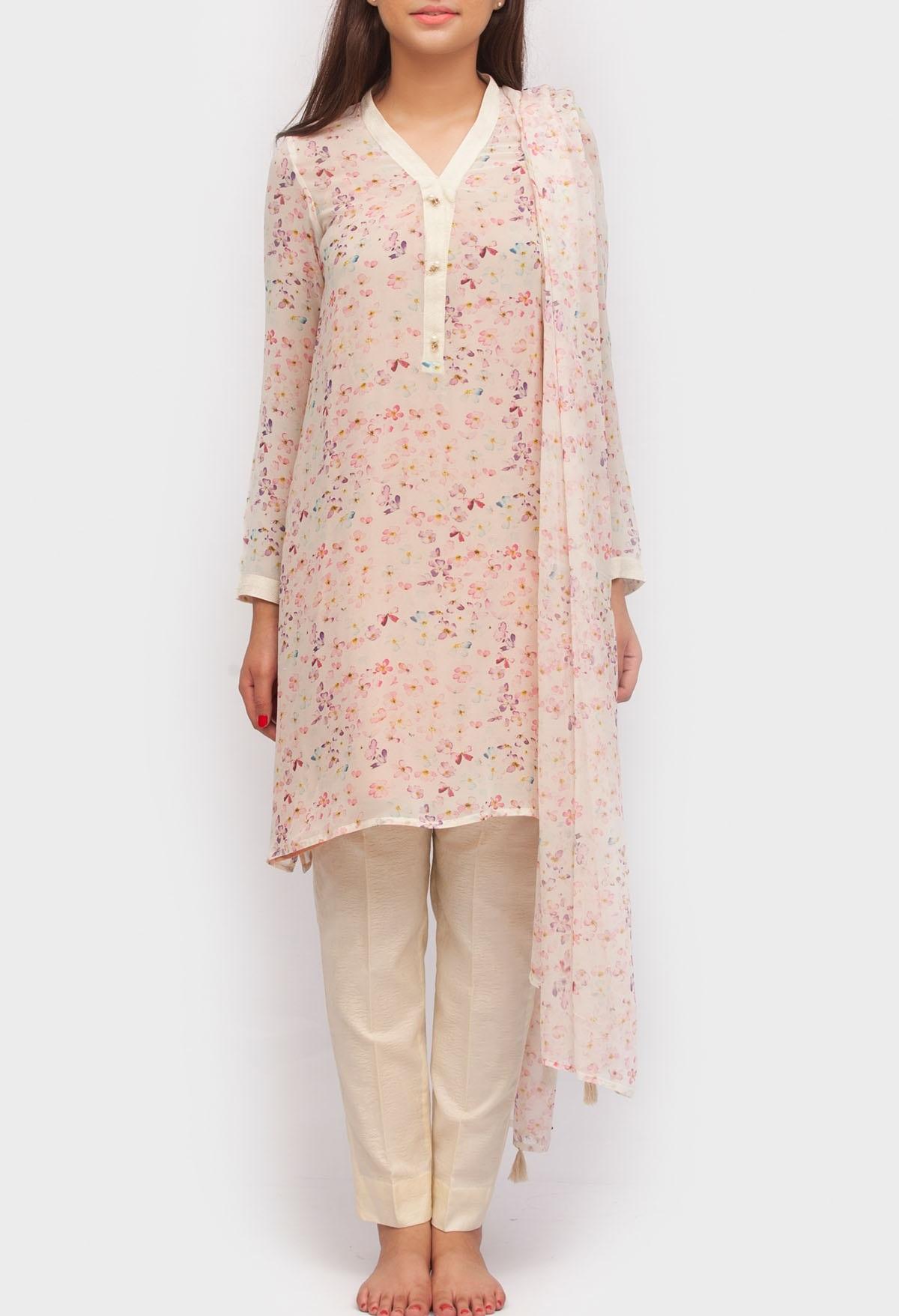 floral digital printed chiffon suit