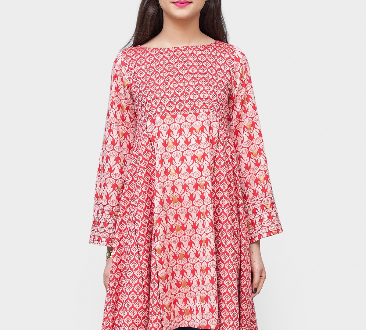 Red Bodice Cute Flare Winter Tunic for girls