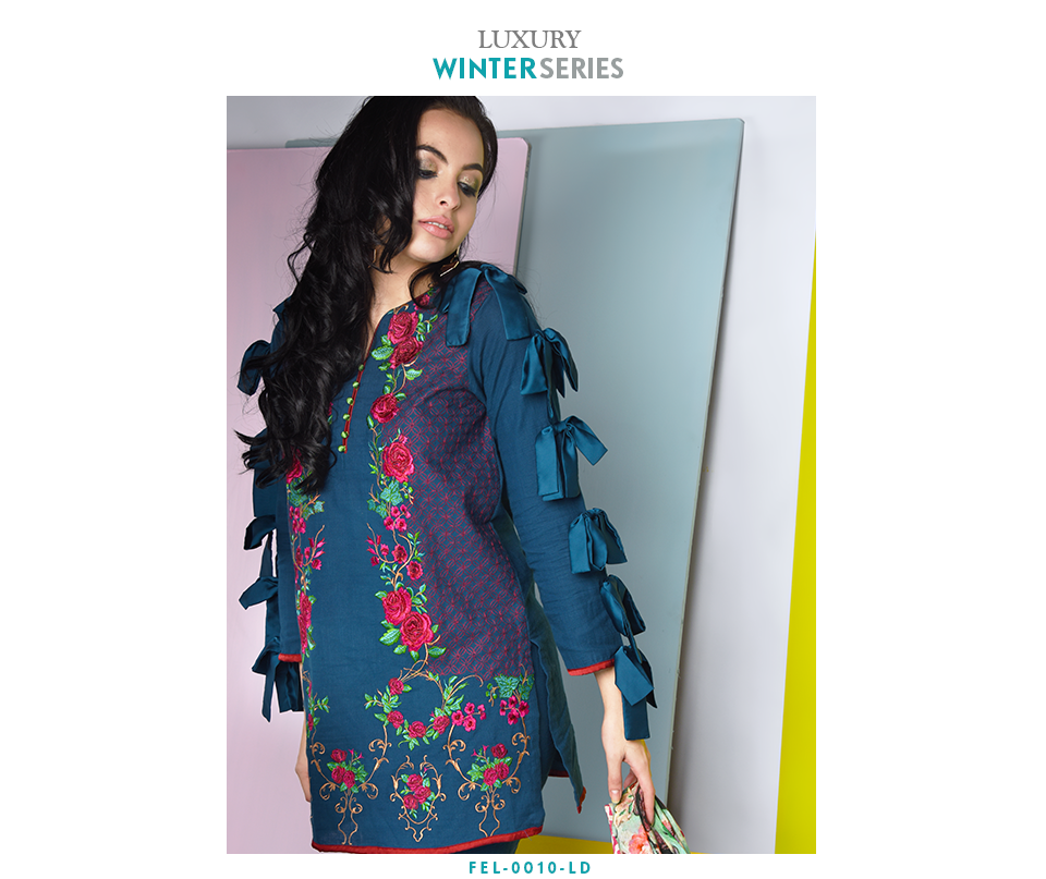 Blue khaddar Luxury Embroidered Winter outfit 2017