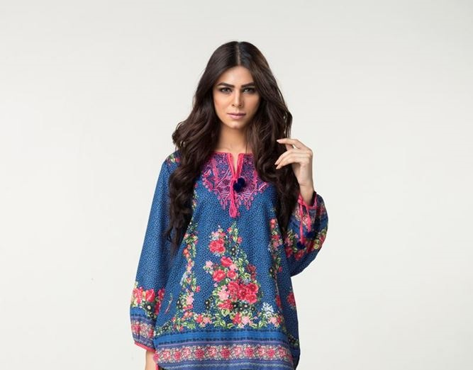 royal blue top with multi-colored print