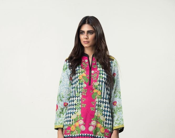 ethnic winter top with shocking pink print for girls