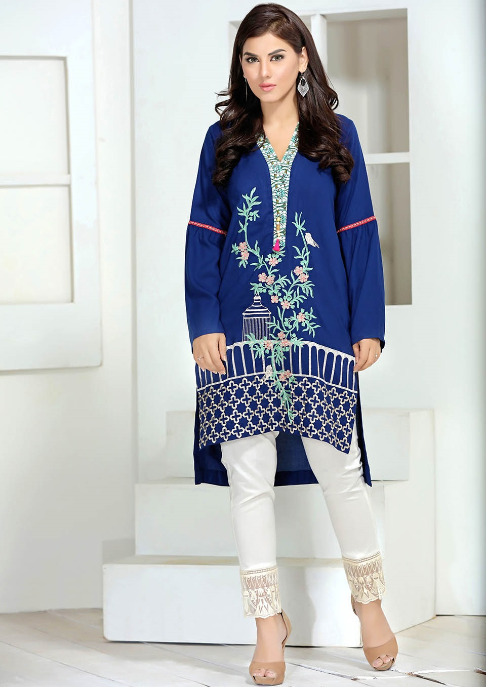 royal blue solid embroidered winter shirt