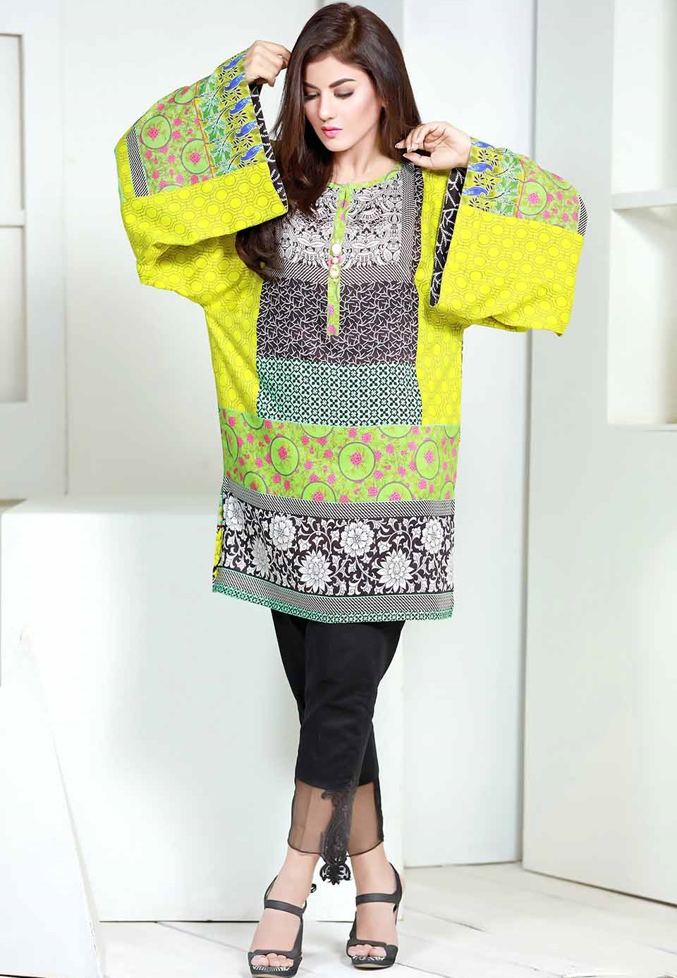 colorful embroidered linen ready-made shirt