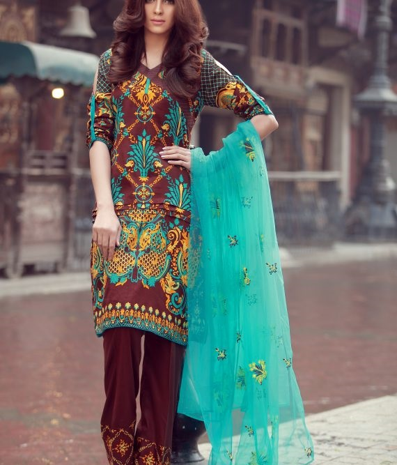 brown and ferozi embroidered suit with net dupatta