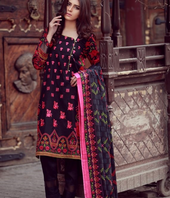 pink and black printed designer winter dress by libas