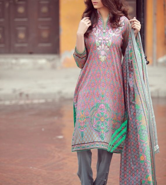 embroidered neckline winter suit by LIBAS