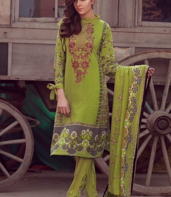 mehndi green winter dress with black and white box print