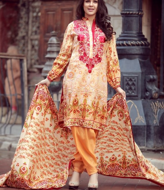peach and dark red embroidered Libas winter dress