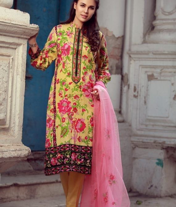 yellow and pink embroidered winter suit with net dupatta