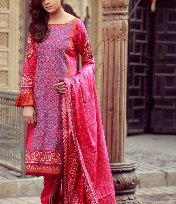shocking pink royal winter outfit by LIBAS