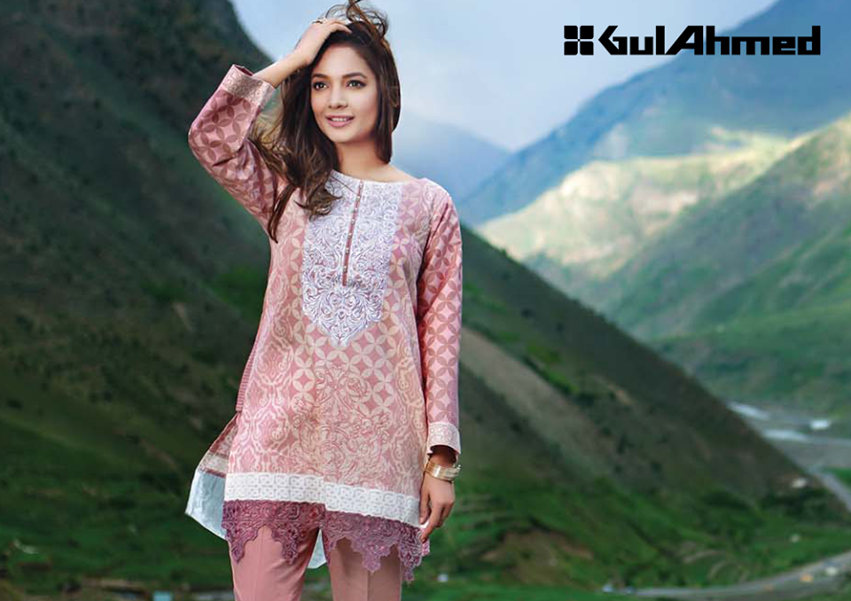 Pink colored winter outfit by Gul Ahmed