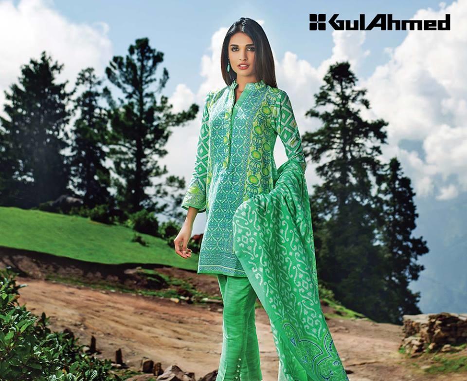 green three piece khaddar suits