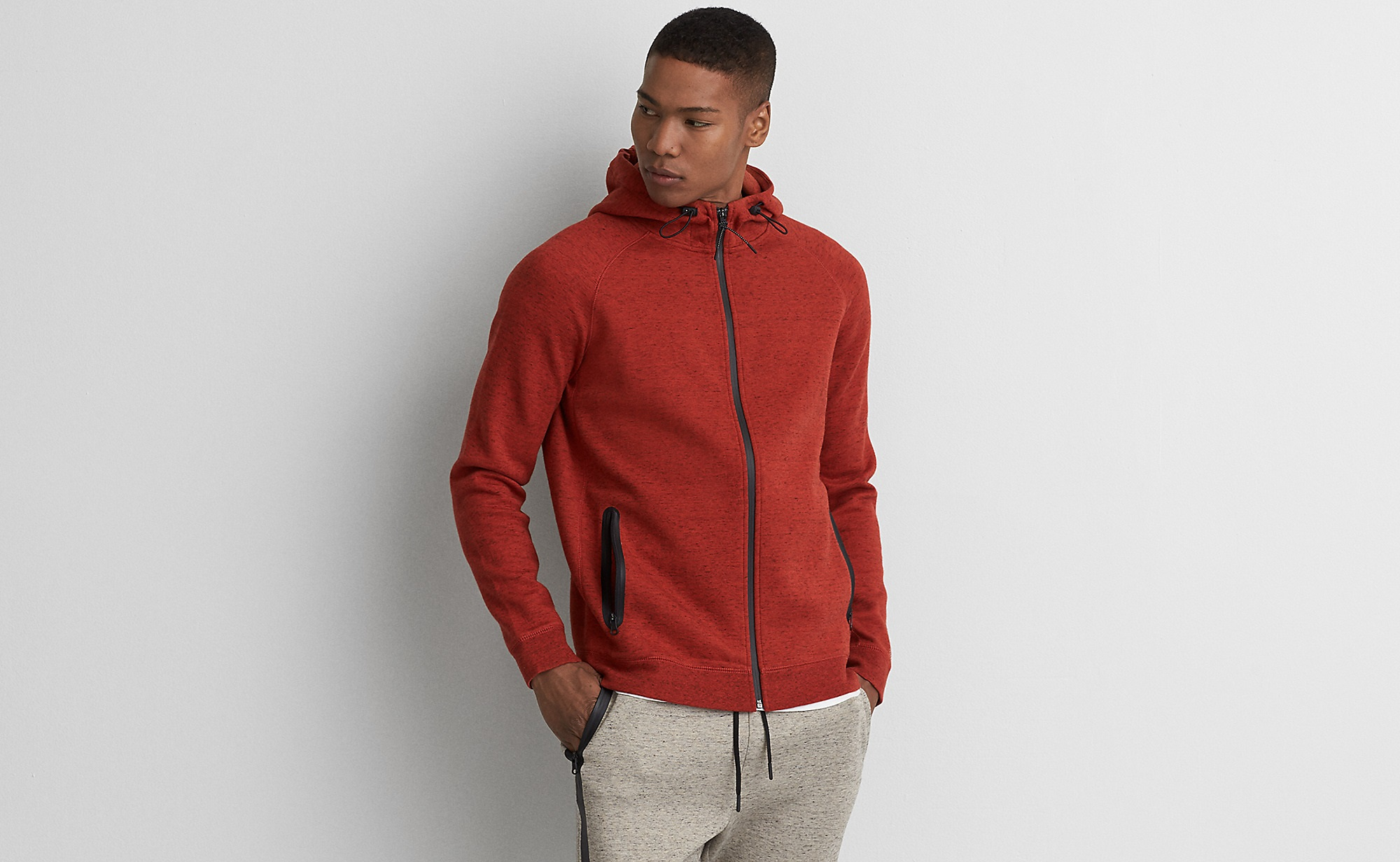red active flex full zipper for boys by American eagle outfitters