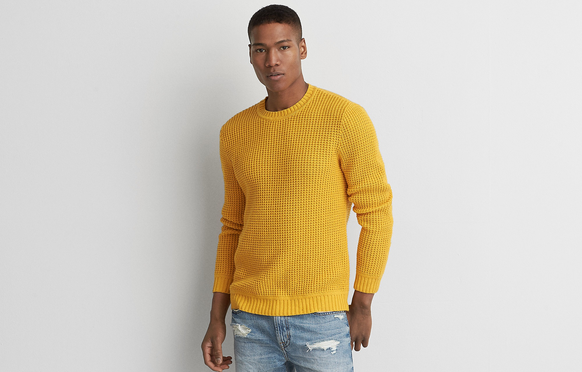 yellow waffle crew sweater for boys by America eagle 2017