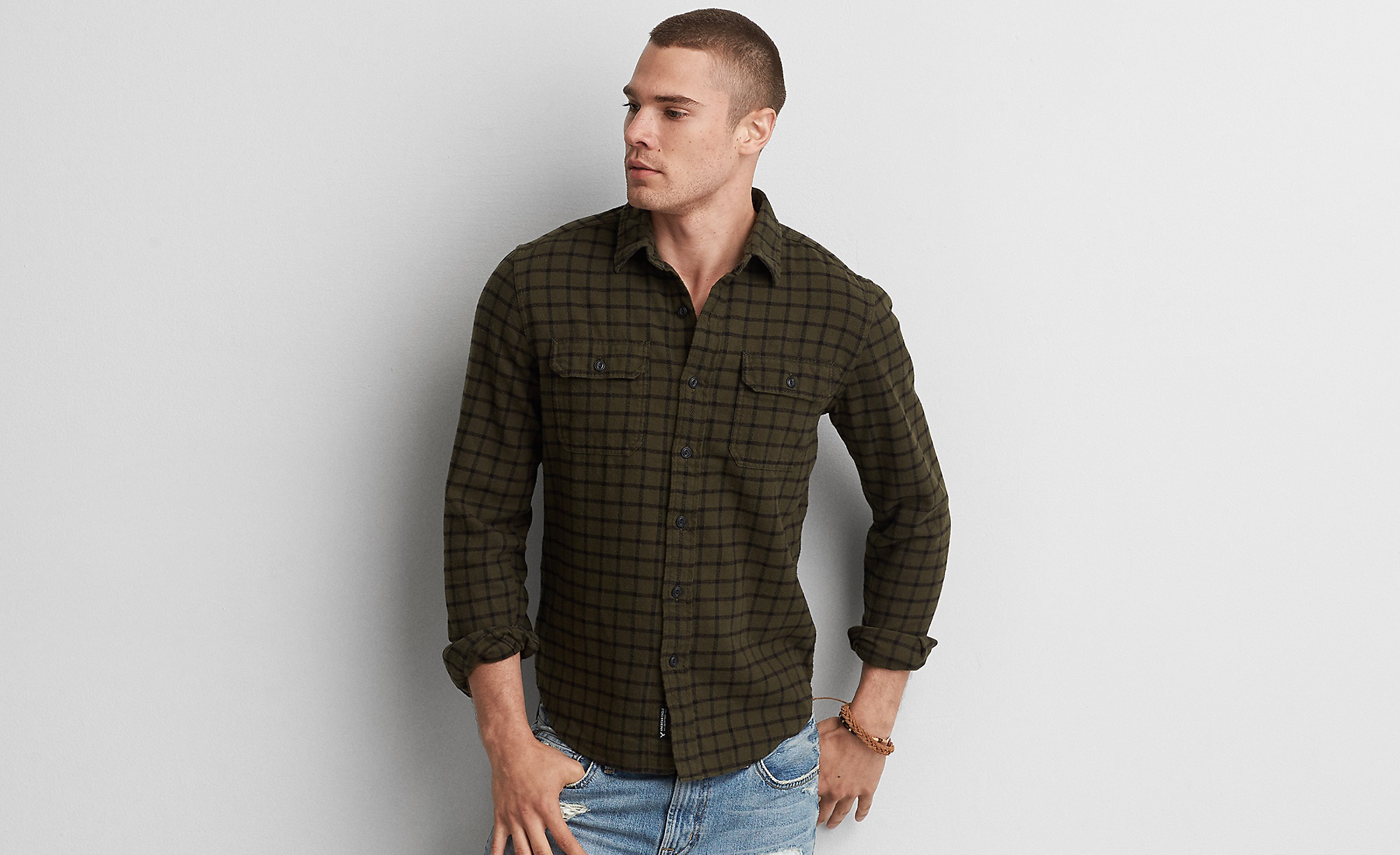 menswear rugged flannel shirt for winters