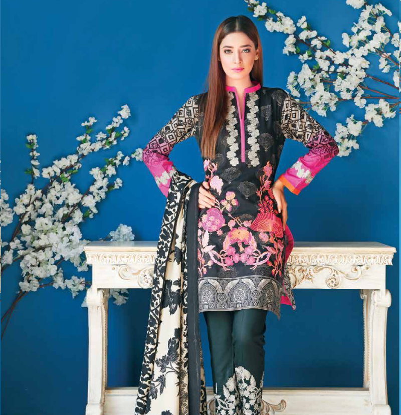 pink and black embroidered staple print with pashmina shawl