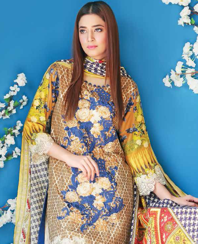 yellow winter fabric with red royal blue embroidery on front