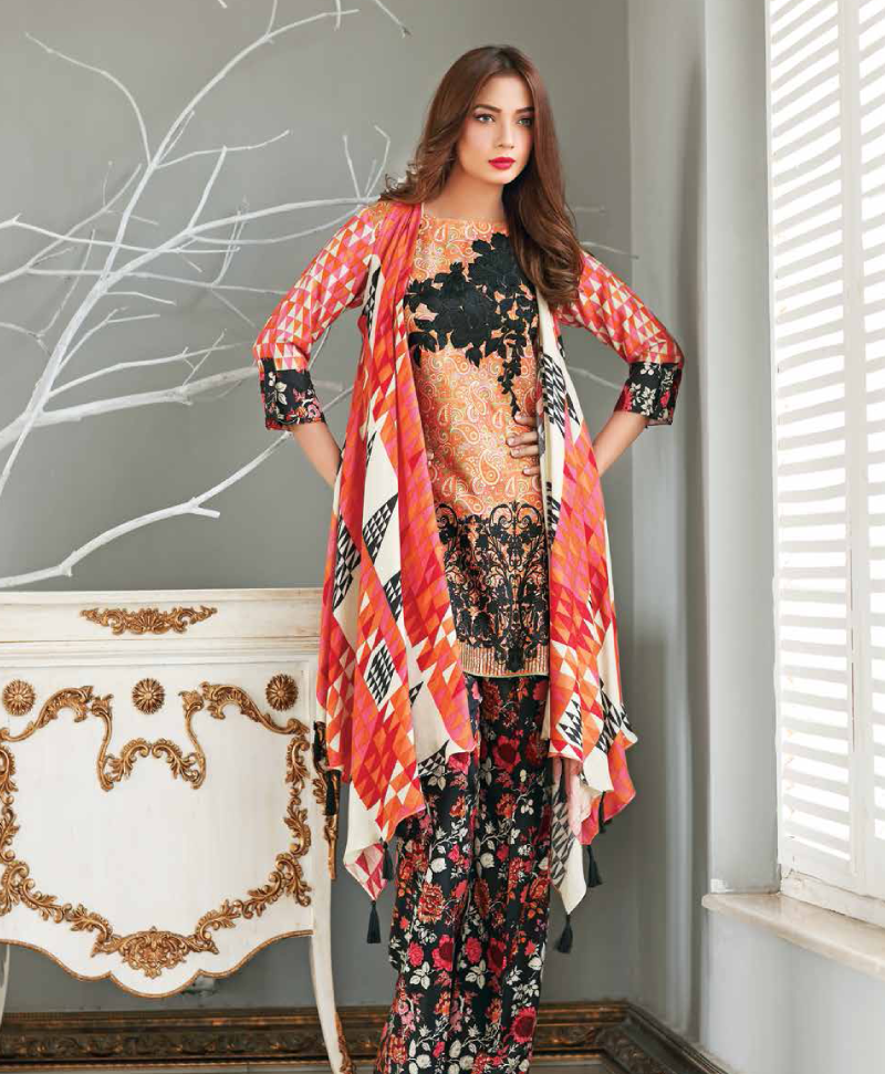 red winter twill suit with black embroidery by Charizma