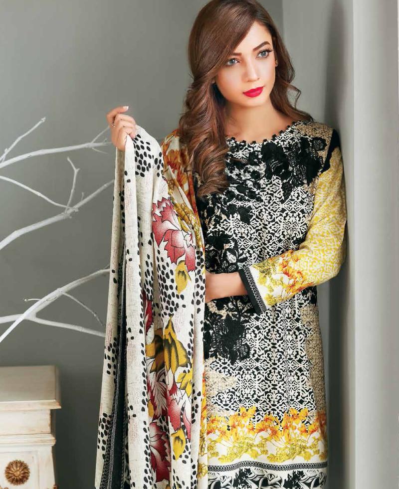 charizma twill winter dress with pashmina shawl