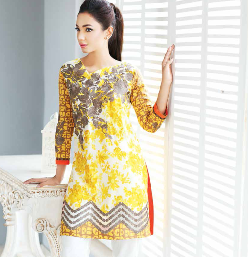 yellow winter dress with grey embroidery on neckline by Charizma