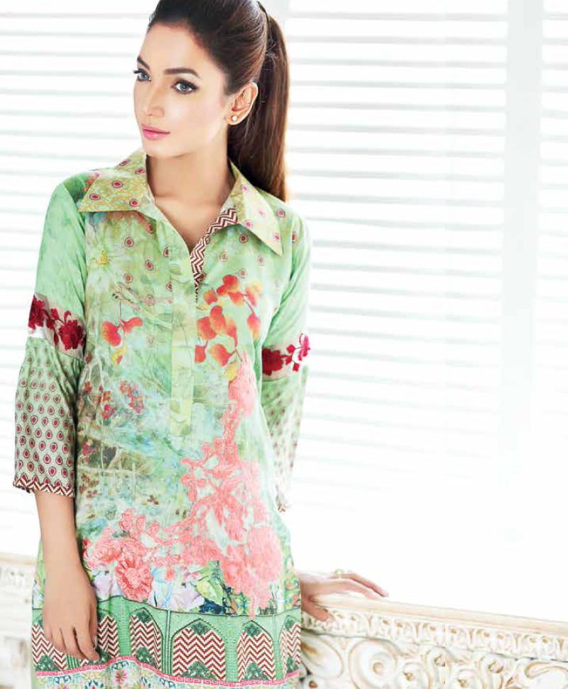 apple green viscose suit for winters by Charizma